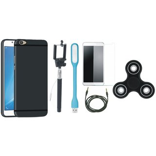 Samsung J7 Pro Silicon Slim Fit Back Cover with Free Spinner, Selfie Stick, Tempered Glass, LED Light and AUX Cable