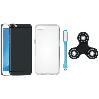Samsung J7 Pro Silicon Slim Fit Back Cover with Spinner, Silicon Back Cover, USB LED Light