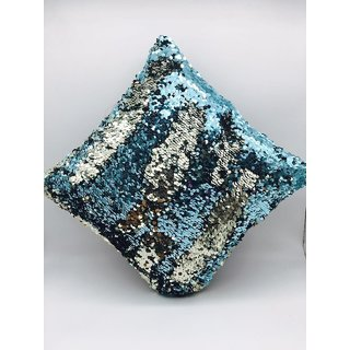 Stylish Sequin Mermaid Throw Pillow Cover with Magical Color Changing Reversible Paulette Design (Blue-silver) 16x16