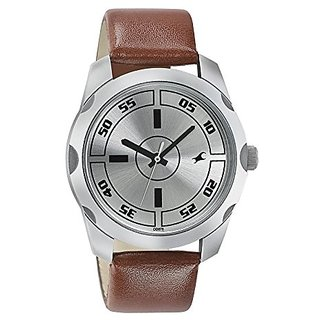 Fastrack Quartz Silver Dial Mens Watch-3123SL02