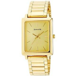 Sonata Quartz Gold Dial Mens Watch-7078YM02