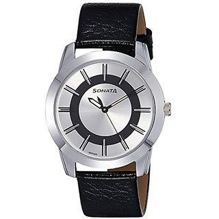Sonata Quartz Silver Dial Mens Watch-7924SL06
