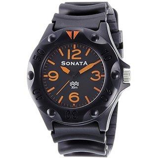 Sonata Quartz Black Round Men Watch 7975PP02
