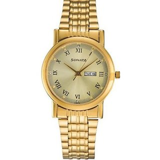 Sonata Quartz Gold Dial Mens Watch-7987YM04