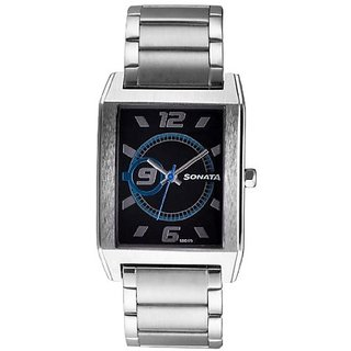 Sonata Quartz Black Dial Mens Watch-7999SM01