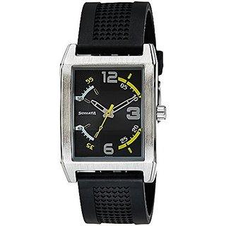 Sonata Quartz Black Rectangle Men Watch 7999sp01
