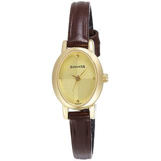 Sonata Quartz Gold Oval Women Watch 8092YM02