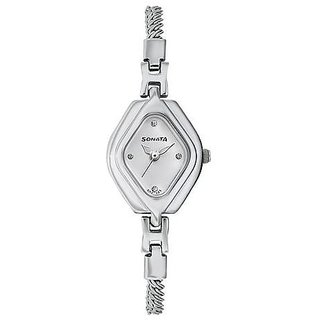 Sonata Quartz Silver Dial Women Watch-87010SM02