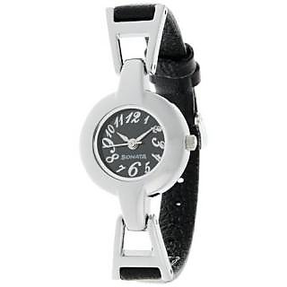 Sonata Quartz Black Dial Women Watch-8979SL02