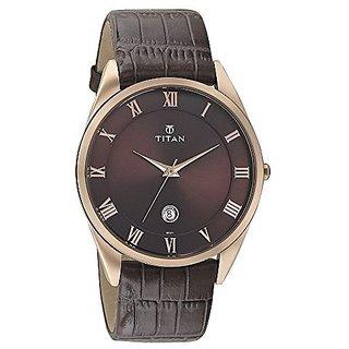Titan Quartz Brown Dial Mens Watch-90054WL01