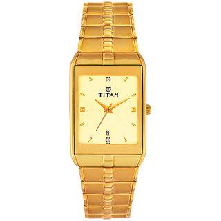 Titan Rectangle Dial Gold Metal Strap Men Quartz Watch for Men-9151YM03