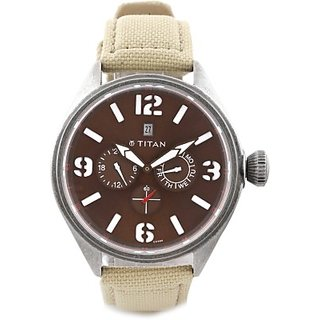Titan Quartz Brown Dial Mens Watch-9478QF02