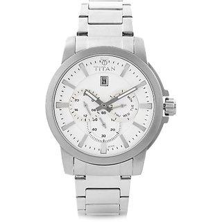 Titan Quartz White Dial Mens Watch-9488SM01