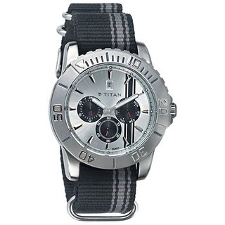 Titan Quartz White Dial Mens Watch-9490sp01
