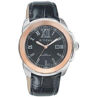 Titan Quartz Black Dial Mens Watch-9492KL03