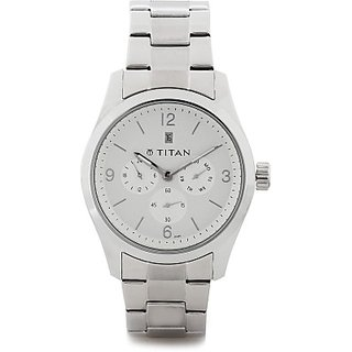 Titan Quartz White Dial Mens Watch-9493SM01