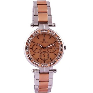 Titan Quartz Brown Dial Women Watch-9965km01