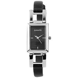 Sonata Quartz Black Dial Women Watch-NF8982SL02J
