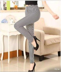 Thin White and Thin Black Stretchable Striped Legging / Jegging / Gym Wear / Yoga Wear /Sport's Wear