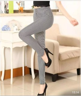 Thin White and Thin Black Stretchable Striped Legging / Jegging / Gym Wear / Yoga Wear /Sport's Wear