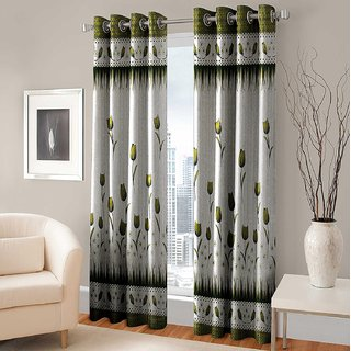 Yogini  Panle Printed 2 Piece  Door Curtain- Green 4X7 Feet 48x84 Inches