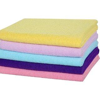 Yogini Plain Microfiber 5 Pcs  Plain Bath Towel Size-36X165 Cm