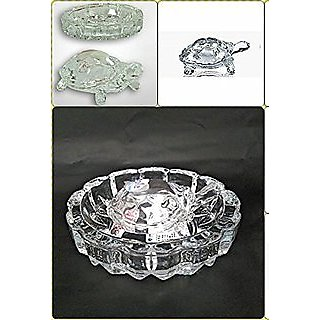 Alfa White Kesar Zems Imported Tortoise House Glass Crystal Tortoise in Plate 5x5 inch Fang Shui Vastu Set