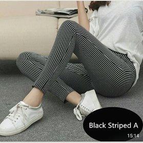 Medium Black  Thin White Striped Stretchable  Legging / Jegging / Gym Wear / Yoga Wear /Sport's Wear