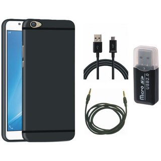 Samsung C9 Pro Soft Silicon Slim Fit Back Cover with Memory Card Reader, USB Cable and AUX Cable