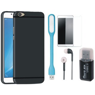 Samsung C9 Pro Soft Silicon Slim Fit Back Cover with Memory Card Reader, Tempered Glass, Earphones and USB LED Light