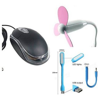 Exclusive combo of Mouse, Usb Fan and Usb Light (Assorted Colors)