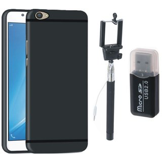 Samsung C9 Pro Premium Quality Cover with Memory Card Reader, Free Silicon Back Cover and Selfie Stick
