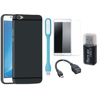 Samsung C9 Pro Premium Quality Cover with Memory Card Reader, Tempered Glass, USB LED Light and OTG Cable