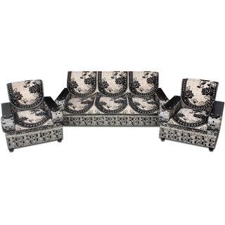 Premium Furnishing Pure Velvet 5 Seater sofa Cover In Black Colour(pfscssc015)
