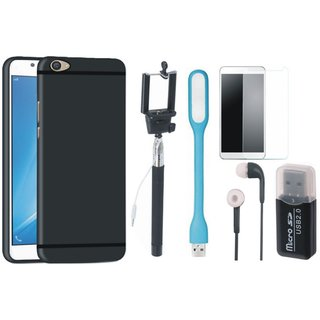 Samsung C9 Pro Silicon Anti Slip Back Cover with Memory Card Reader, Free Selfie Stick, Tempered Glass, Earphones and LED Light
