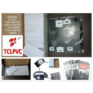 Pvc Id Card Tray + 200 Hd Inkjet Cards + Software Combo For Epson L800 L805 L810  L850 Printer Original Epson Friendly