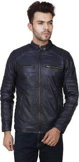 Demind Blue Pu Leather Jacket For Men, Boys