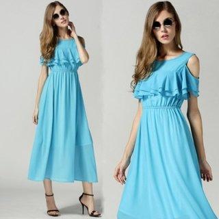 Raabta Sky Blue Cold Shoulder Maxi Dress