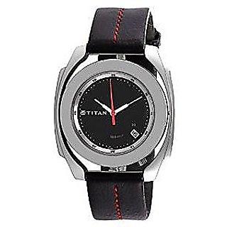 Titan Quartz Black Dial Mens Watch-1184SL01