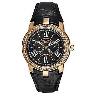 Titan Quartz Black Dial Mens Watch-1535WL04