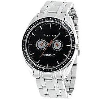 Titan Quartz Black Dial Mens Watch-1582KM02