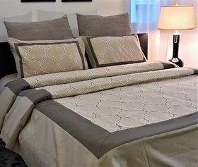 Zila Home Embroidered Spade Brown King Size Cotton Bedspread