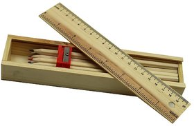 BuzyKart Wooden Pencil Set Box With 12 Different Crayon Color Pencils, Scale (Ruler)  Wooden Sharpener