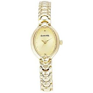 Sonata Quartz Gold Dial Women Watch-8107YM02