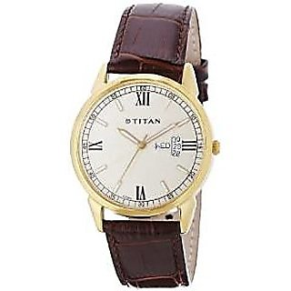 Titan Quartz Gold Dial Mens Watch-1521YL09