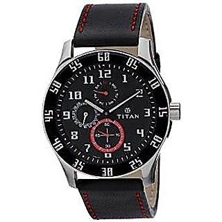 Titan Quartz Black Dial Mens Watch-1632SL03