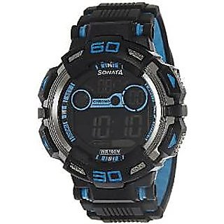 Sonata Quartz Black Dial Mens Watch-77009pp02