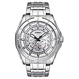 Timex Quartz Silver Dial Mens Watch-TI000T90200