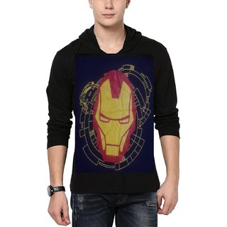 Printed Hooded Full Sleeve Men's  Black T-Shirt
