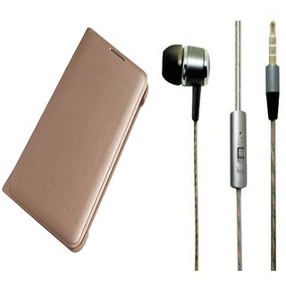 Samsung Galaxy J7 Max Golden Leather Flip Cover with Universal Perfumed Noise Cancellation Earphones with Mic